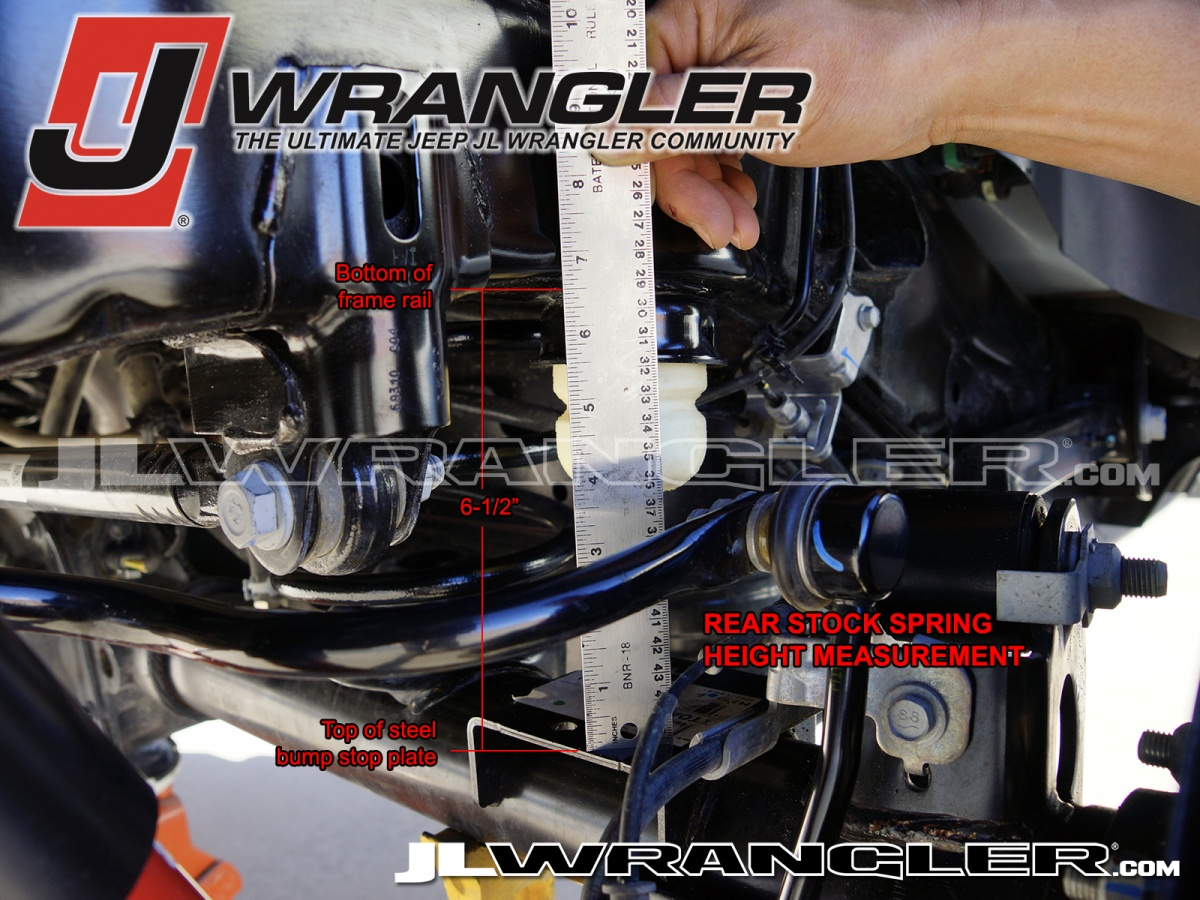 JL Wrangler Rubicon Unlimited stock rear measurement