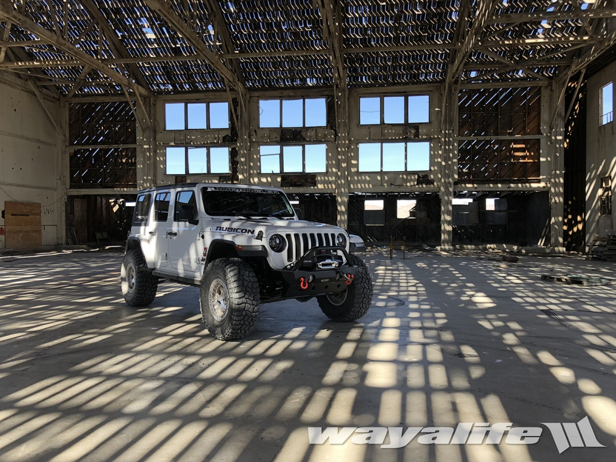 Jeep JL Wrangler in an old Hanger