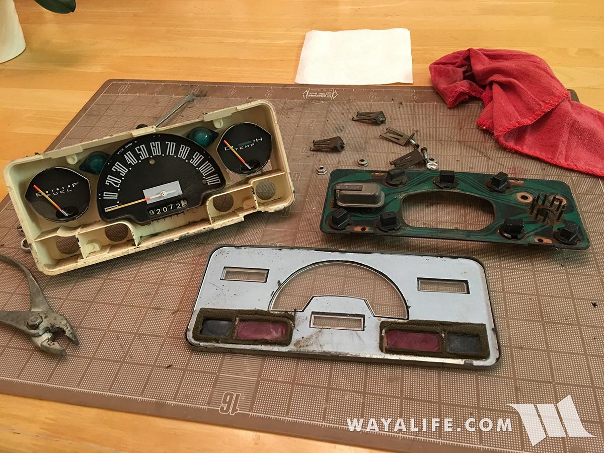 Jeepster Commando instrument panel taken apart