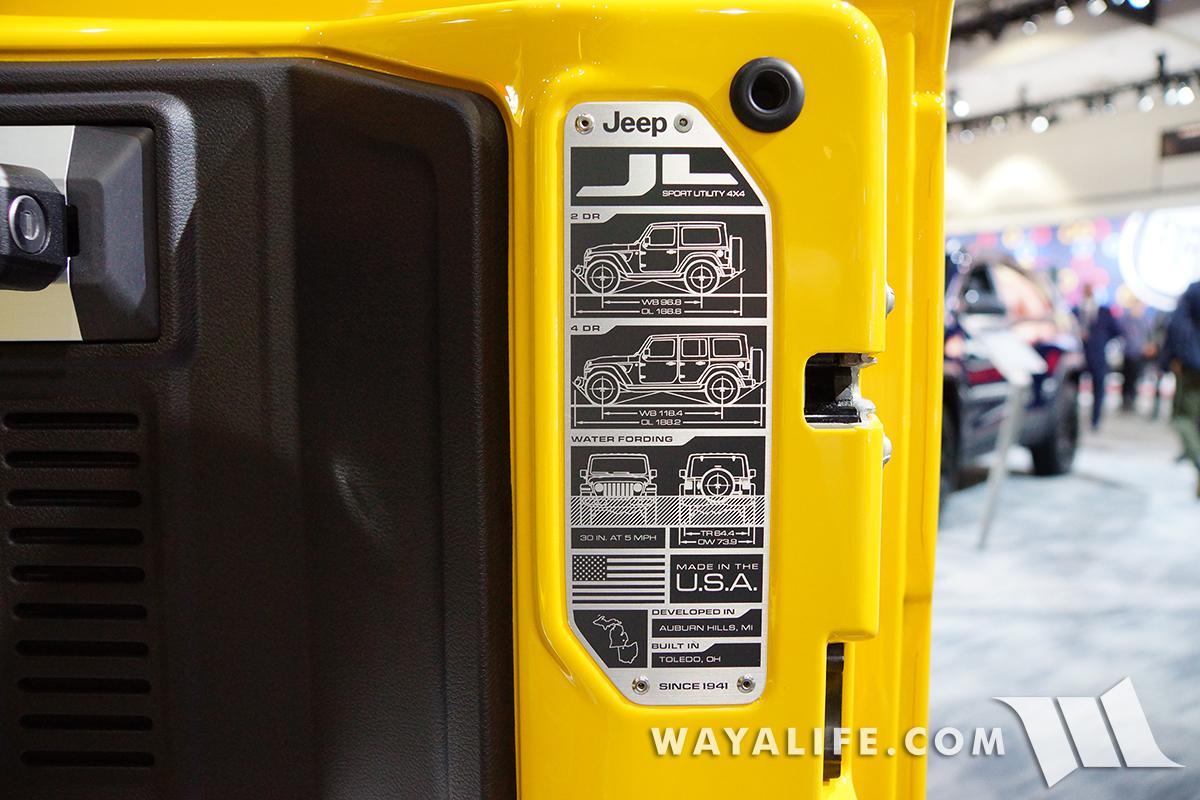 JL Wrangler data plate on tailgate
