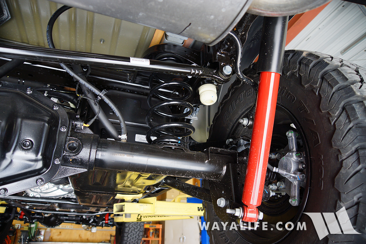 Under The Jl Wrangler Rubicon A Look At Suspension Steering Rear Diagram Further Jeep Front End Parts View Looking Across Length Of Track Bar As You Can See Its Bigger Beefier And Shaped Differently Than Old Jk